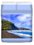Surf At Pololu Valley Big Island Duvet Cover