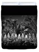 Surf Board Fence Maui Hawaii Black And White Duvet Cover by Edward Fielding