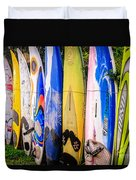 Surfboard Fence Maui Hawaii Duvet Cover by Edward Fielding