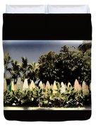 Surfboard Fence - Old Postcard Duvet Cover