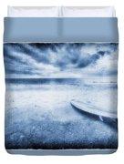 Surfboard On The Beach Duvet Cover