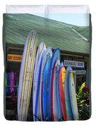 Surfboards At Hanalei Surf Duvet Cover