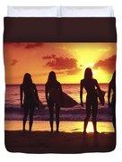 Surfer Girl Silhouettes Duvet Cover