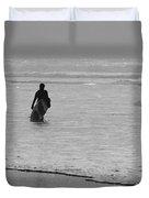 Surfer In The Mist Duvet Cover