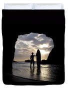 Surfer Inside A Cave At Muriwai New Duvet Cover