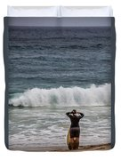Surfer Checking The Waves Duvet Cover
