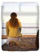 Surfer Woman And Dog On Beach Duvet Cover