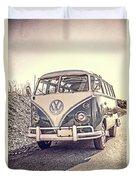 Surfer's Vintage Vw Samba Bus At The Beach Duvet Cover
