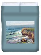 Surfing At Steamers Lane Santa Cruz Duvet Cover