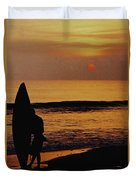 Surfing At Sunset Duvet Cover by Anonymous