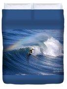 Surfing Under A Rainbow Duvet Cover
