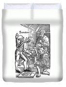 Surgeon Performing An Amputation. Woodcut From An Edition Of Hans Von Gersdoffs Feldtbuch Der Wundartzney, Strassburg, 1540 Duvet Cover