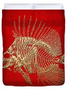 Surgeonfish Skeleton In Gold On Red  Duvet Cover