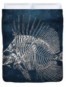 Surgeonfish Skeleton In Silver On Blue  Duvet Cover