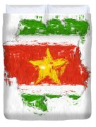 Suriname Painted Flag Map Duvet Cover