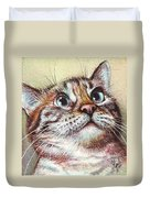 Surprised Kitty Duvet Cover by Olga Shvartsur