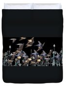 Swallows In The City Duvet Cover
