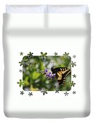 Swallowtail 4 With Flower Framing Duvet Cover
