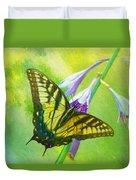 Swallowtail Visits Hosta Flowers Duvet Cover