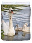 Swan And Chicks Duvet Cover