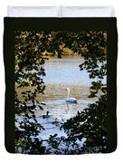 Swan And Ducks Through Trees Duvet Cover