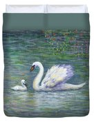 Swan And One Baby Duvet Cover