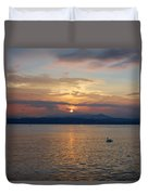Swan And Sunset. Sirmione. Lago Di Garda Duvet Cover