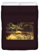 Swan At The Golden Lake Duvet Cover
