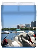Swan Boats And Buildings Duvet Cover
