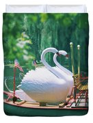Swan Boats In A Lake, Boston Common Duvet Cover