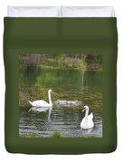 Swan Family Squared Duvet Cover