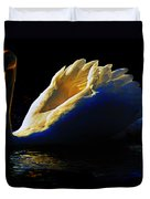 Swan In Golden Light Duvet Cover