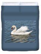 Swan On Blue Waves Duvet Cover