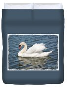Swan On Blue Waves With Border Duvet Cover