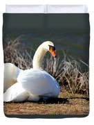 Swan Protects Her Eggs Duvet Cover