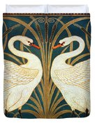 Swan Rush And Iris Duvet Cover