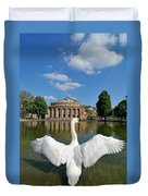 Swan Spreads Wings In Front Of State Theatre Stuttgart Germany Duvet Cover