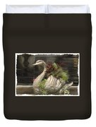 Swan With Beautiful Flowers Duvet Cover