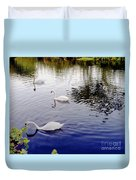 Swan's 3 In A Group. Duvet Cover