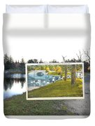 Swans At Roger Williams Park In Providence Rhode Island Duvet Cover