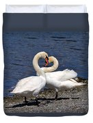 Swans Courting Duvet Cover
