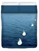 Swans On The Vltava River, Prague Duvet Cover