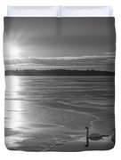 Swans Sunrise Bw Duvet Cover