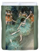 Swaying Dancer .dancer In Green Duvet Cover