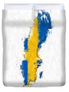 Sweden Painted Flag Map Duvet Cover