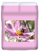 Sweet Bee On Pink Cosmos Duvet Cover