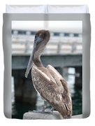 Sweet Brown Pelican - Digital Painting Duvet Cover