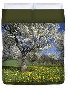 Sweet Cherry Orchard In Full Bloom Duvet Cover
