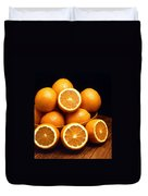 Sweet Oranges Whole And Halved Duvet Cover