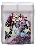Sweet Peas In A Blue And White Jug With Blue And White Pot And Textiles  Duvet Cover